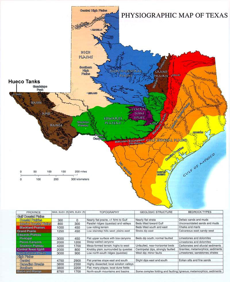 Map Of Texas Landforms.Hueco Tanks