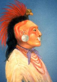 A Caddo man in bird headdress as visualized by artist Reeda Peel. The painting is based on a description of Caddo men in state dress for a meeting with General Manuel Mier y Teran, who headed a Mexican boundary commission sent by Santa Anna in 1828. Painting courtesy of the artist.