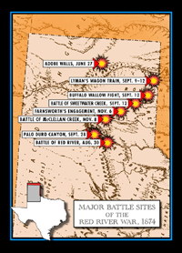 Map showing major battles of the 1874 Red River War