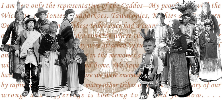 Collage of images related to Caddo Indians